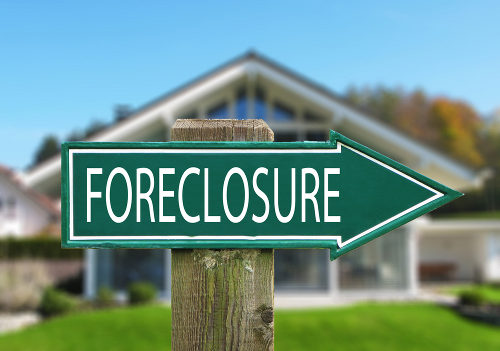 Foreclosure Sign Agains House
