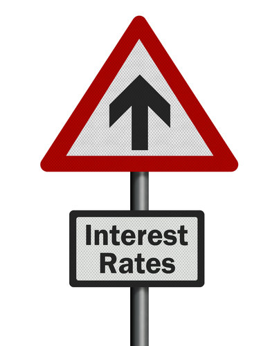 Rising Interest Rates Road Sign