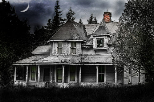 Spooky Abandoned Home with Selective Color
